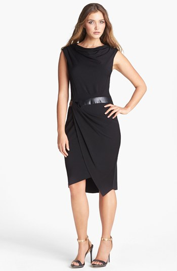 Vera-Wang-faux-leather-inset-drape-jersey-dress