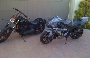Antonio Sabato Yamaha R1 and Harley Softail